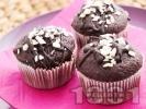 Рецепта Вкусни шоколадови мъфини с ванилия, какао и парченца шоколад
